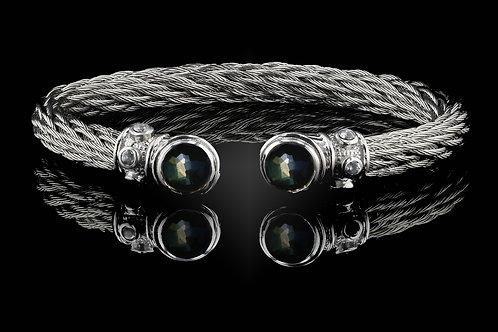 Capri White Nouveau Braid Bracelet with Lemon Quartz & Hematite Doublets
