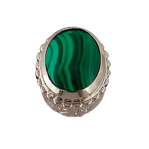 Oval Opaque & CZ Sterling Silver Bezel with Malachite