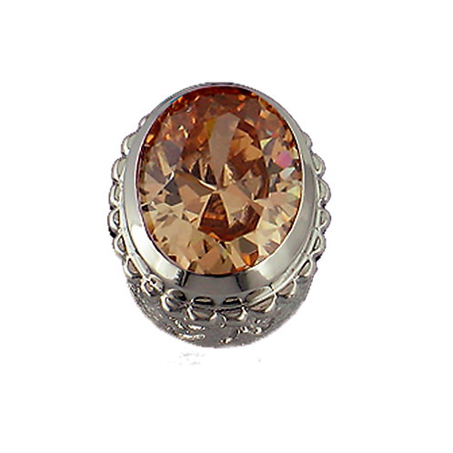 Oval Opaque & CZ Sterling Silver Bezel with CZ Cognac