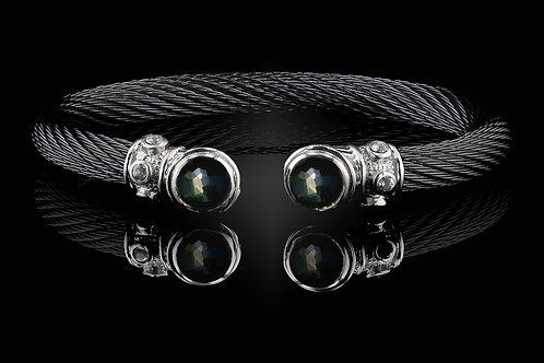 Capri Black Live Wire Bracelet with Lemon Quartz & Hematite Doublets
