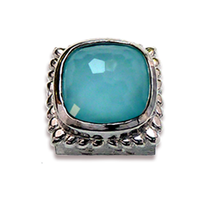 Square Natural Doublets Sterling Silver Bezel with Recon Turqoise & Chrystal