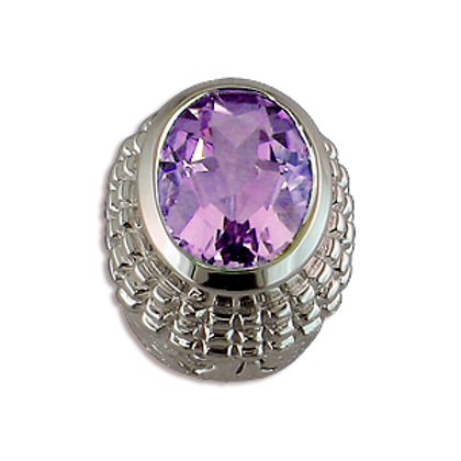 Oval Gemstones Sterling Silver Bezel with Lavender Amethyst