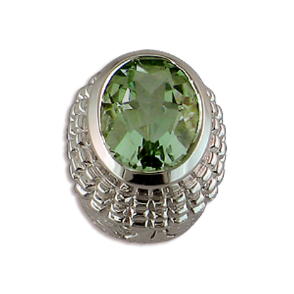 Oval Gemstones Sterling Silver Bezel with Green Amethyst