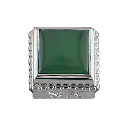 Square Opaque & CZ Sterling Silver Bezel with Natural Jade