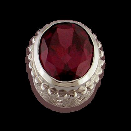 Oval Gemstones Sterling Silver Bezel with Rhodalite Garnet