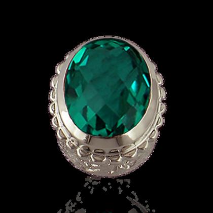 Oval Gemstones Sterling Silver Bezel with  Quartz Doublet Forest