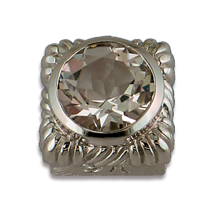 Square Gemstones Sterling Silver Bezel with White Topaz