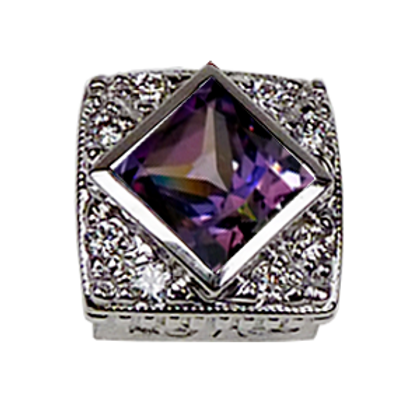 Square Halo Collection Sterling Silver Bezel with CZ Fancy Purple & CZ