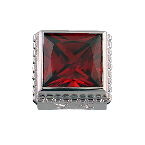 Square Opaque & CZ Sterling Silver Bezel with CZ Red