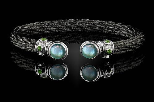 Capri Black Nouveau Braid Bracelet with Blue Topaz & Mother of Pearl Doublets