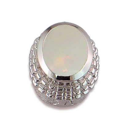Oval Gemstones Sterling Silver Bezel with White Opal