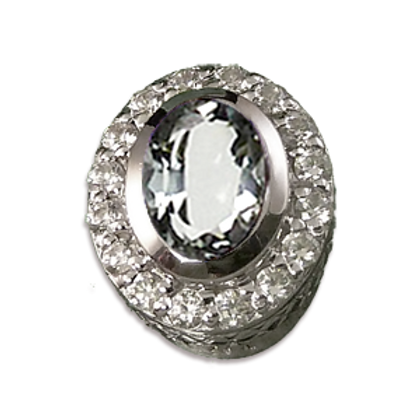 Oval Halo Collection Sterling Silver Bezel with CZ White & CZ