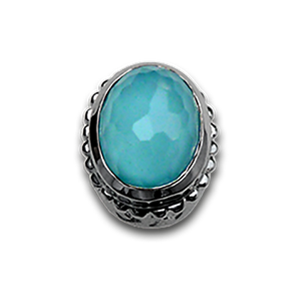 Oval Natural Doublets Sterling Silver Bezel with Recon Turqoise & Chrystal