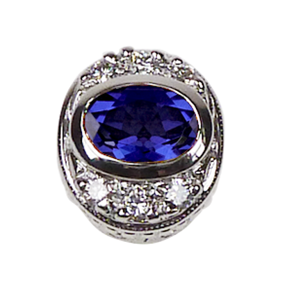 Oval Halo Collection Sterling Silver Bezel with Lab   Blue Sapphire& CZ