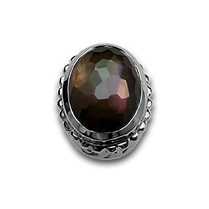 Oval Natural Doublets Sterling Silver Bezel with Smokey Quartz & Blac k MOP