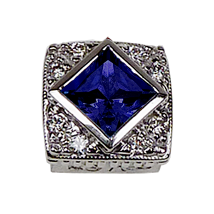 Square Halo Collection Sterling Silver Bezel with Lab   Blue Sapphire& CZ
