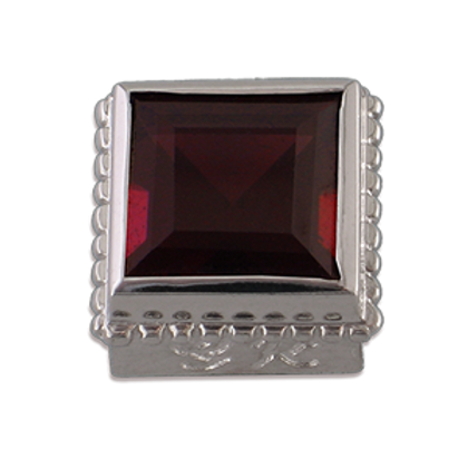 Square Gemstones Sterling Silver Bezel with Rhodalite Garnet