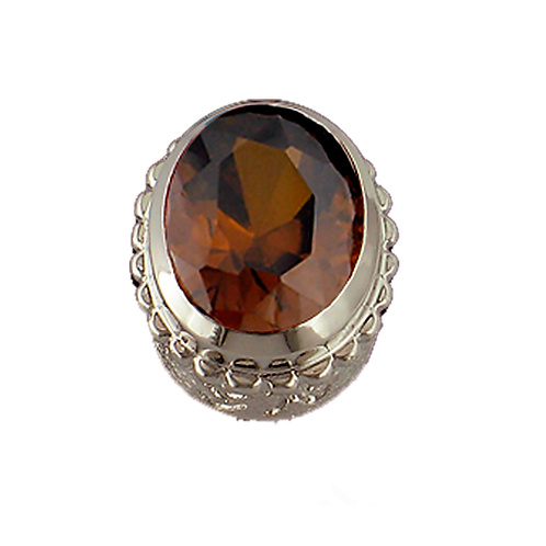 Oval Opaque & CZ Sterling Silver Bezel with CZ Brown