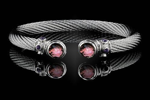 Capri White Live Wire Bracelet with Rhodalite Garnet & Crystal Doublets