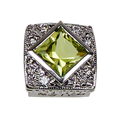 Square Halo Collection Sterling Silver Bezel with Lemon Quartz & CZ