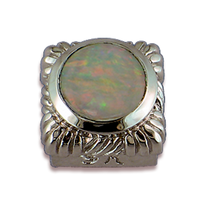 Square Gemstones Sterling Silver Bezel with White Opal