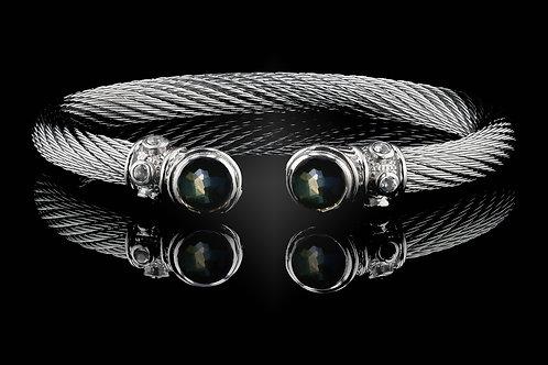 Capri White Live Wire Bracelet with Lemon Quartz & Hematite Doublets