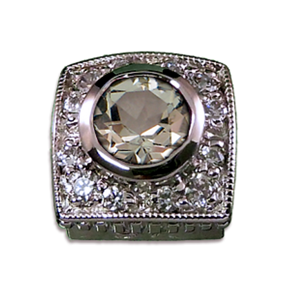 Square Halo Collection Sterling Silver Bezel with White Topaz& CZ