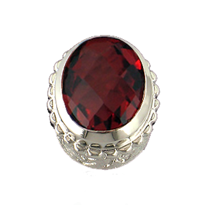Oval Gemstones Sterling Silver Bezel with  Quartz Doublet Red Wine