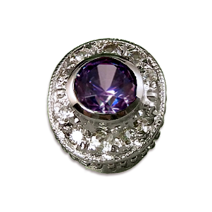 Oval Halo Collection Sterling Silver Bezel with CZ Fancy Purple & CZ