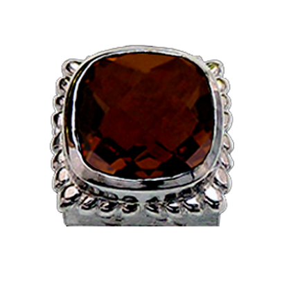 Square Gemstones Sterling Silver Bezel with  Quartz Doublet Whiskey