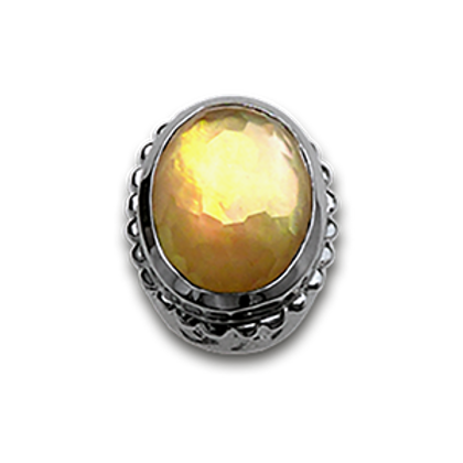 Oval Natural Doublets Sterling Silver Bezel with Citrine & MOP