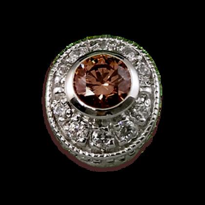 Oval Halo Collection Sterling Silver Bezel with Smokey Topaz & CZ