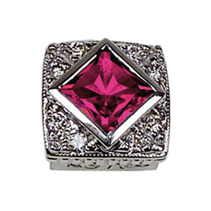 Square Halo Collection Sterling Silver Bezel with Lab  Pink Sapphire & CZ