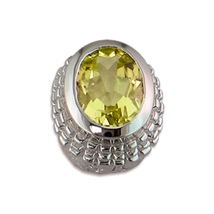 Oval Gemstones Sterling Silver Bezel with Lemon Quartz