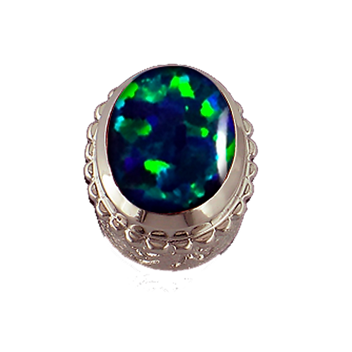 Oval Opaque & CZ Sterling Silver Bezel with Simulated Opal Green