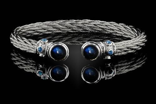 Capri White Nouveau Braid Bracelet with Labradorite & Hematite Doublets