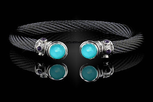 Capri Black Live Wire Bracelet with Turquoise & Chrystal Doublets