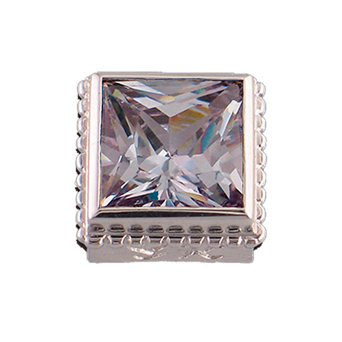 Square Opaque & CZ Sterling Silver Bezel with CZ Lavender