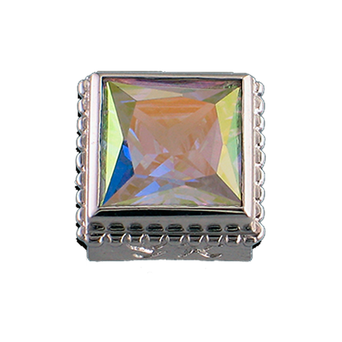 Square Opaque & CZ Sterling Silver Bezel with CZ Mercury Mist