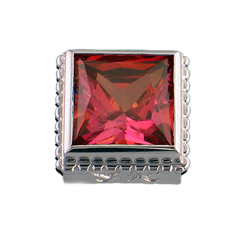 Square Opaque & CZ Sterling Silver Bezel with CZ Salmon