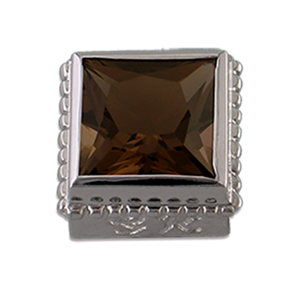 Square Gemstones Sterling Silver Bezel with Smokey Topaz
