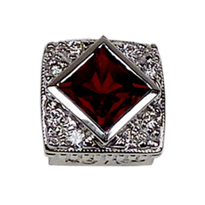 Square Halo Collection Sterling Silver Bezel with Pyrope Garnet & CZ