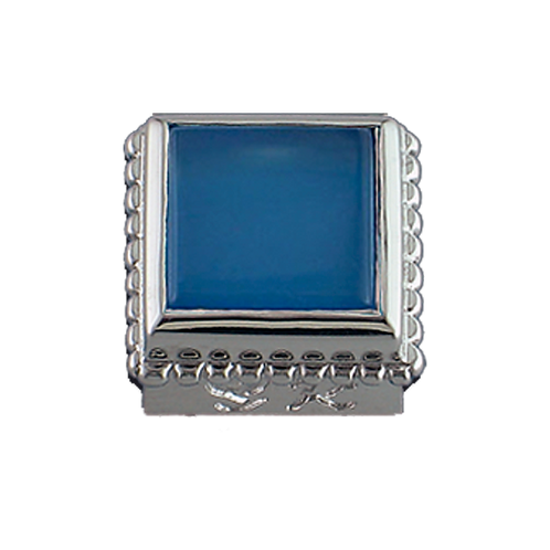 Square Opaque & CZ Sterling Silver Bezel with Blue Onyx