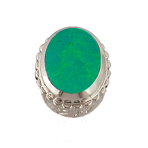 Oval Opaque & CZ Sterling Silver Bezel with Chinese Turquoise