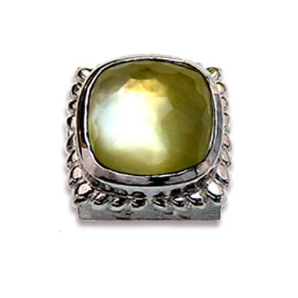 Square Natural Doublets Sterling Silver Bezel with Lemon Quartz & MOP