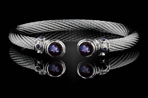 Capri White Live Wire Bracelet with Amethyst & Hematite Doublets