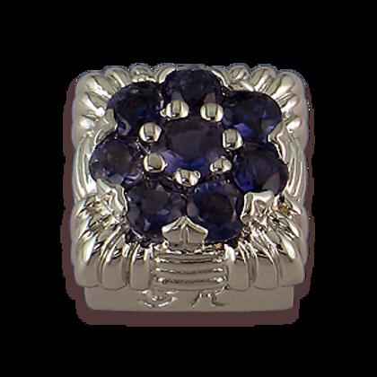 Square Gemstones Sterling Silver Bezel with Iolite