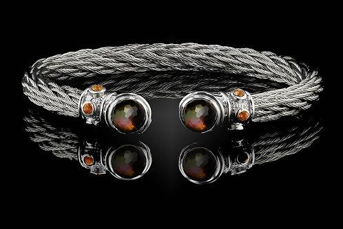 Capri White Nouveau Braid Bracelet with Smokey Quartz & Blk MOP Doublets