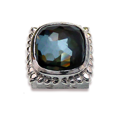 Square Natural Doublets Sterling Silver Bezel with Chrystal & Hematite