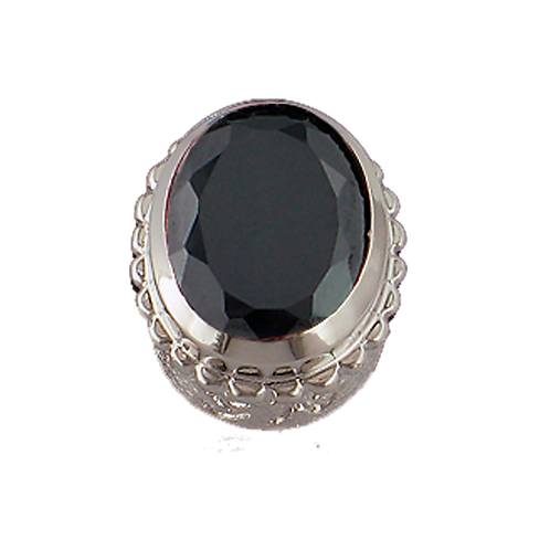 Oval Opaque & CZ Sterling Silver Bezel with CZ Black